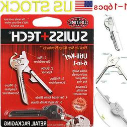 1-16 pcs Multi-Function 6 In 1 Utili-Key Stainless Steel Key