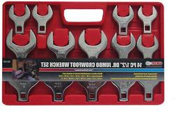 1/2 inch Drive SAE Jumbo Crowfoot Wrench Set 14 Piece Open E