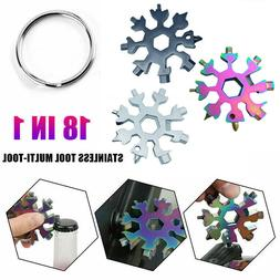 18 In 1 Multi-Tool Snowflake Design Keychain Hex Screwdriver