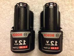 2 New Bosch BAT414 12 Volt 12V Max 2.0Ah Batteries Lithium I