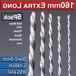 5Pcs Cobalt High Speed Steel Extra Long Drill Bit Set Twist