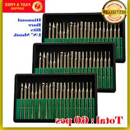 60 Pcs Diamond Burr Bits Drill Set Rotary Multi Tool Accesso