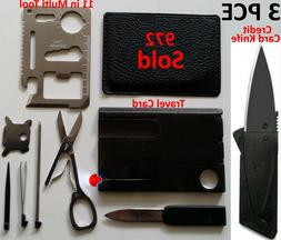 Credit Card Knives 11 in 1 Multi tools 3 Lot wallet thin poc