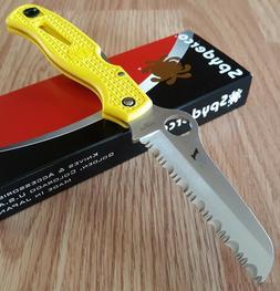 Spyderco Atlantic Salt Rust Free Serrated Edge Knife, Yellow