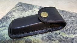 BLACK LEATHER Belt Pouch SHEATH For Folding Knife or Tool Up