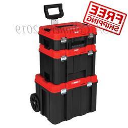 Black Plastic Wheeled Lockable Tool Box CRAFTSMAN VERSASTACK