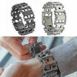 BLACK Silver multi functional multitool bracelet stainless s