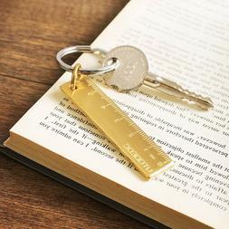 Brass Portable Key Ring Tool EDC Vintage Ruler Copper Gift F