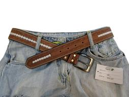BROWN FLORAL TOOLED THICK LEATHER MENS WOMEN BELT WHITE STIT
