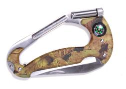 Camouflage Carabiner Clip Pocket Multi-tool Knife Compass LE