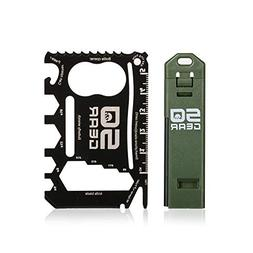 Compact Credit Card Sized 21-Tool Multitool with Compact Fir