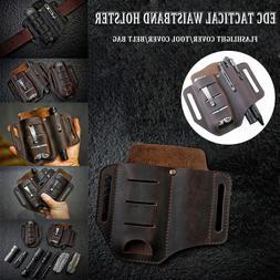 EDC Leather Sheath Multitools Belt Pouch for Knife Flashligh
