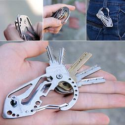 EDC Stainless Multi Tools Keychain Screwdriver Wrench Carabi