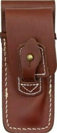"Carry All Brown Leather Sheath Fits 4"" Inch Closed Folding K"