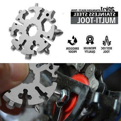 20 In 1 Multi Tool Stainless Steel Snowflake Shape EDC Flat
