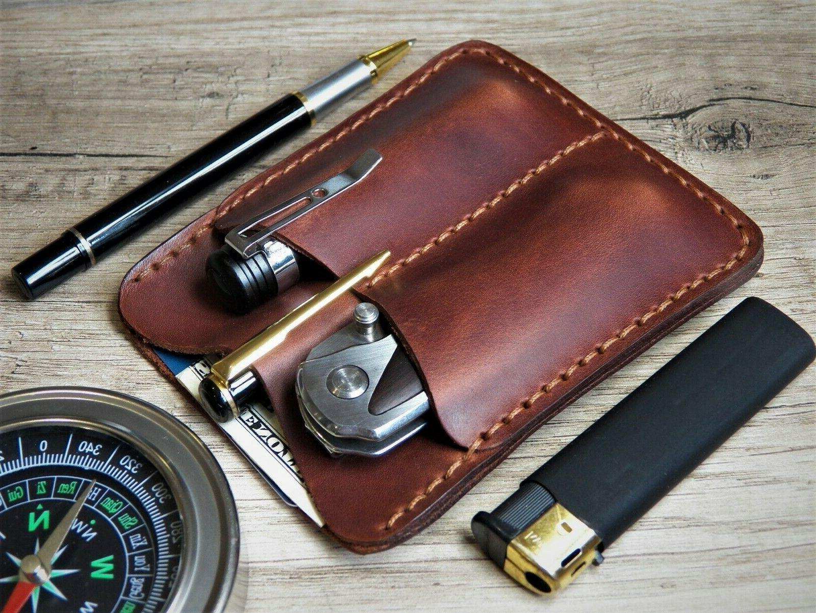pocket leather wallet flashlight pen Leatherman