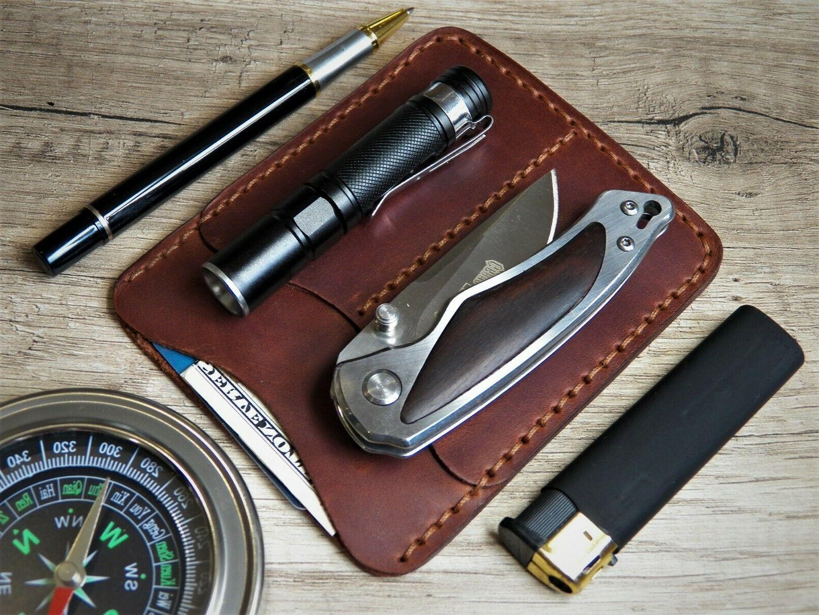 pocket organiser leather edc wallet flashlight pen