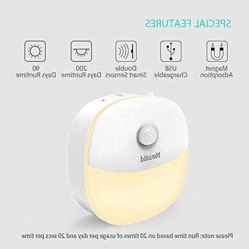 Newild LED Light Adjustable Brightness Warm White nightlight Kids Motion Sensor for Kitchen, Bathroom, Li-Polymer Battery,