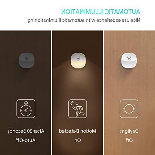 Newild Rechargeable LED Night Light Adjustable Brightness Warm White for Kids Motion Sensor for Hallway, Kitchen, Bedroom, Li-Polymer 2-Packs