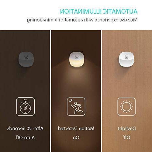 Newild Rechargeable LED Night Light Adjustable Brightness Warm White for Kids Motion Sensor for Hallway, Kitchen, Bedroom, Li-Polymer 2-Packs