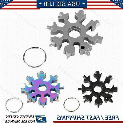 stainless tool snowflake shape key chain screwdriver