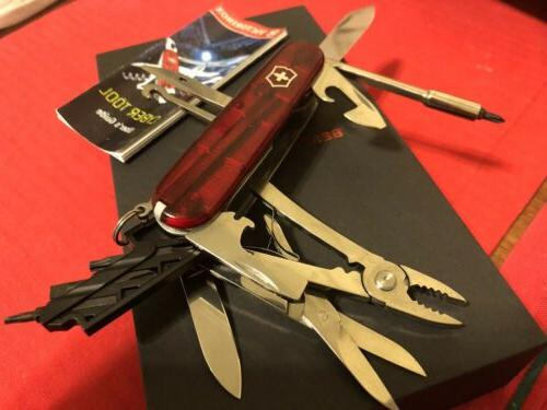 swiss army pocket knife cybertool 34 red