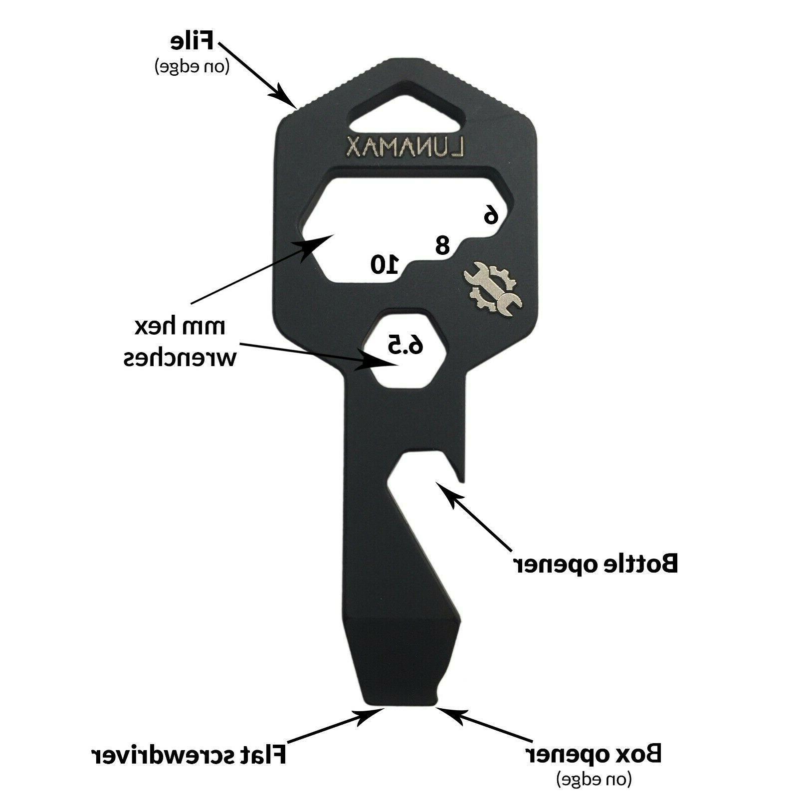 TITANIUM Keychain Multi Tool - Bottle Opener, File..