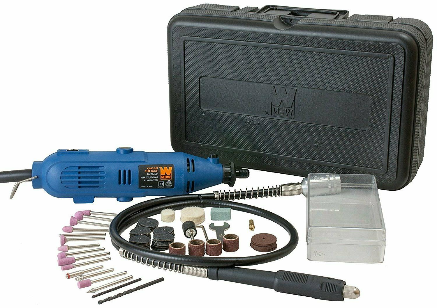 VARIABLE SPEED ROTARY TOOL KIT With Case Flex Shaft 100 Piec