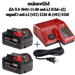 Milwaukee 48-59-1840 M18 RED LITHIUM XC 4.0 Ah Batteries  +