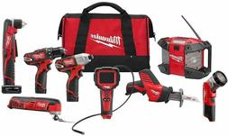 Milwaukee 2495-28 M12 Combo 8 tool Kit W/2 Cmpt Bat, 1 Xc Ba