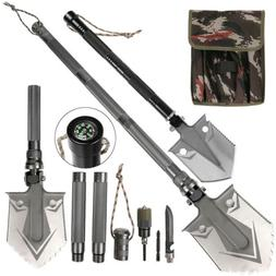 Military Folding Survival Shovel Heavy Duty Carbon Steel Spa