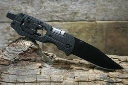 LED Multi Tool Pocket Knife Black Tactical Blade with Screw