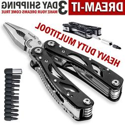 Multi Tool Knife Pliers Saw Kit Folding Screwdriver Bits Out