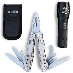 Explora Multitool Knife/Pliers + Pouch & FREE Super Bright B