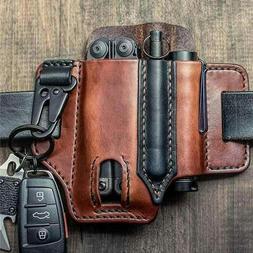 Outdoor Leather Tool Knife Sheath Pockets Multitools Holder