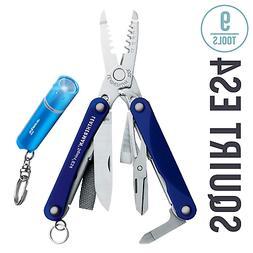 Leatherman Squirt ES4 Keychain Multi-Tool, Blue + LED Flashl