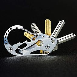 Stainless Steel Carabiner Key Holder, Multifunction EDC Quic