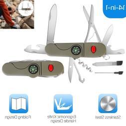 Mens Pocket Knife Small Folding Camping Mini Survival Multi-